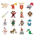 Medieval cartoon icons set vector image vector image