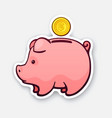 piggy bank for cash money with gold dollar coin vector image