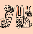 rabbits and big carrot vector image vector image