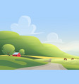 red cottage and grazing horses on sides of vector image vector image
