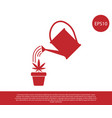 red watering can sprays water drops above vector image vector image