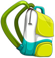 Schoolbag in yellow and green color vector image vector image