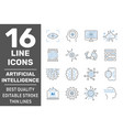 set 16 thin icons related to artificial vector image vector image