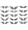 set bird wings in tattoo style design element vector image vector image