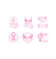set logos in support cancer patients vector image vector image