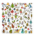 set of colored doodles of merry christmas icons vector image vector image