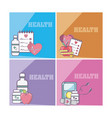 set of health and medicine cards vector image