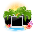 Set photo frame with palms flowers seascape vector image