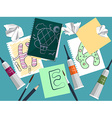 Set with notebook drawings and art supplies on the vector image vector image