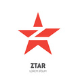 Star - logo template Sliced star with letter Z vector image