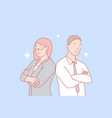 teamwork partnership gender equality concept vector image vector image