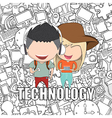 Teenage girl and boy wearing hat vector image vector image
