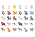 toy animals cartoonmono icons in set collection vector image