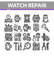 watch repair service collection icons set vector image vector image