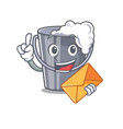 with envelope soapy water in a cartoon bucket vector image vector image