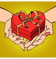 Woman palm shape red heart gift box Valentines day vector image vector image