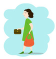 woman walking down the street with bags vector image vector image