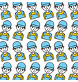 cartoon man repair service garage seamless pattern vector image