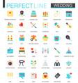 set of flat wedding icons vector image