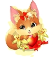 beautiful fox among the flowers vector image vector image