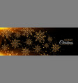 black and gold snowflakes merry christmas banner vector image