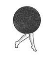 black circle on female legs line art sketch vector image vector image