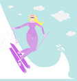 blonde woman do ski vector image