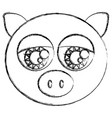 blurred sketch silhouette face cute pig animal vector image vector image