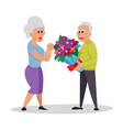 bunch flowers white nice couple old people vector image vector image