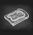 chalk sketch of toast with jam vector image