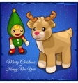 Childrens toys doll and little fawn vector image vector image