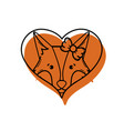 color cute fox female animal inside heart vector image vector image