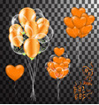 confetti and set orange ribbons bunch of birthday vector image