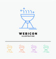 cooking bbq camping food grill 5 color line web vector image