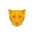 Cougar Mountain Lion Head Mono Line vector image vector image
