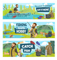 fishing camp fisherman on boat with rod and fish vector image vector image