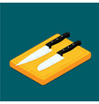 flat knife with cutting board vector image vector image