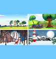 four scene with winter and spring time vector image