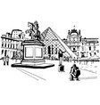 france paris louvre tourists photographed vector image vector image