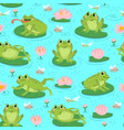 frog seamless pattern repeating cute frogs and vector image vector image