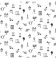 garden tools line icons seamless pattern vector image