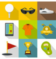 golf tournament icon set flat style vector image vector image