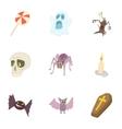 Halloween holiday icons set cartoon style vector image