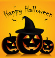 halloween poster with grinning pumpkins and witch vector image vector image