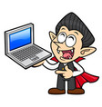 happy dracula character is holding a laptop vector image
