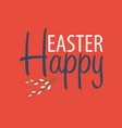 happy easter banner text with willow vector image vector image