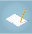 isometric writing pencil vector image vector image