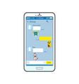 korean messenger interface on smartphone screen vector image vector image