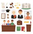 law judge process legal court icon set judgement vector image