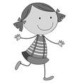 Little girl in skirt running vector image
